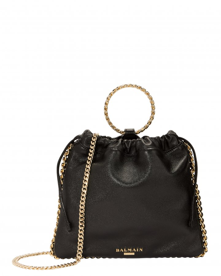 Black Leather B-Link Bracelet Backpack
