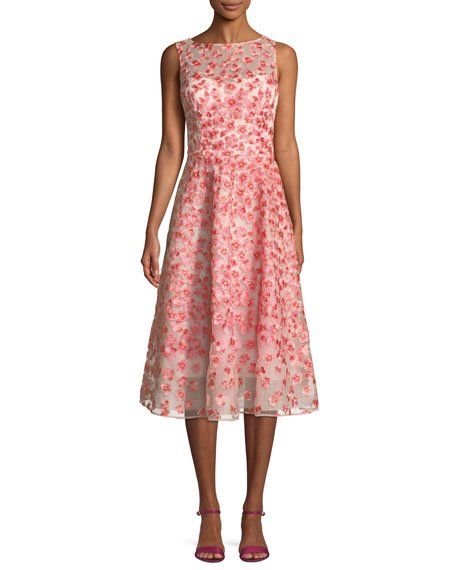 Rickie Freeman for Teri Jon Sleeveless Floral Embroidery Tulle Dance Dress
