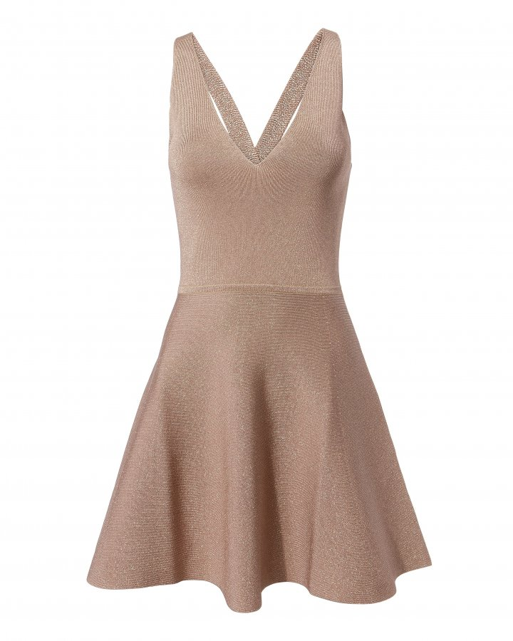 Rose Shimmer Fit-And-Flare Dress