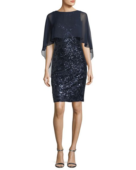 Rickie Freeman for Teri Jon Sequined Capelet Cocktail Sheath Dress