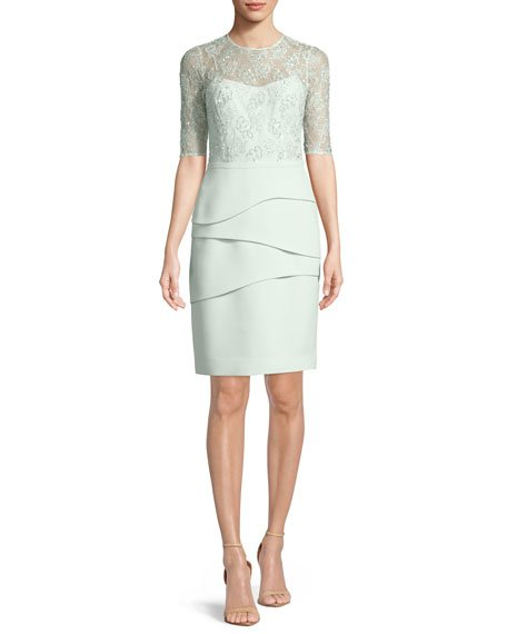 Rickie Freeman for Teri Jon Illusion Lace Half-Sleeve Tiered Dress
