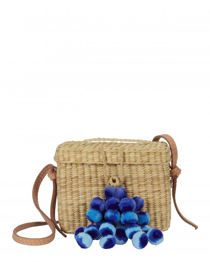 Roge Blue Pom Straw Basket Bag