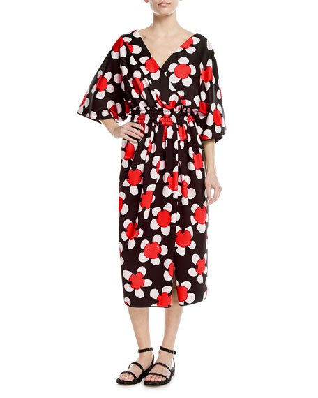 Marc Jacobs 3/4-Sleeve Wrap-Front Daisy Dress