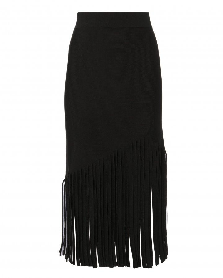 Fringed Hem Midi Skirt
