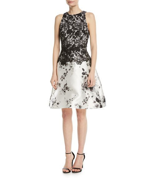 Monique Lhuillier Sleeveless Lace-Top Fit-and-Flare Cocktail Dress