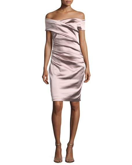 Talbot Runhof Off-the-Shoulder Ruched Satin Duchesse Cocktail Dress