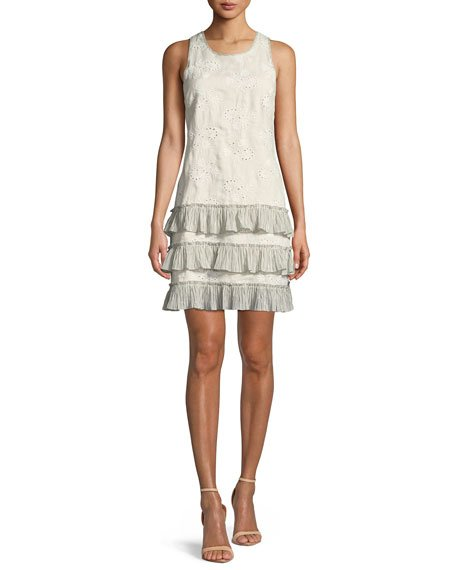 Rebecca Taylor Garden-Eyelet Sleeveless Linen Dress