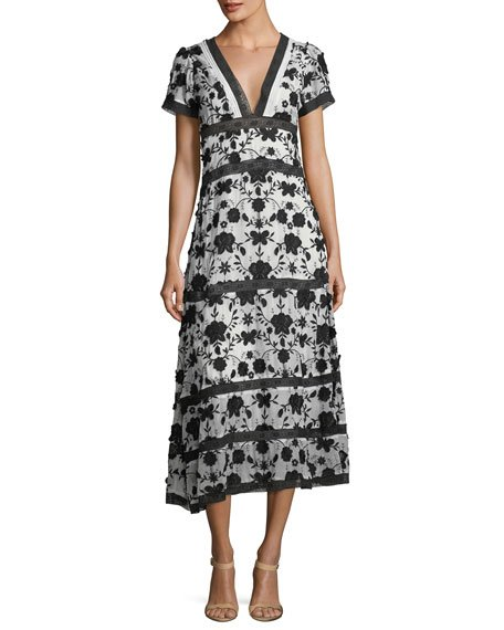 Joie Fusca V-Neck Short-Sleeve Maxi Dress with Floral-Embroidery