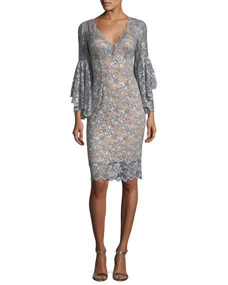 Jovani Deep V-Neck Trumpet-Sleeve Lace Appliqué Dress