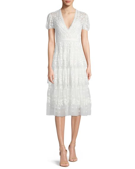 Needle & Thread Layered Cap-Sleeve Lace Midi Cocktail Dress