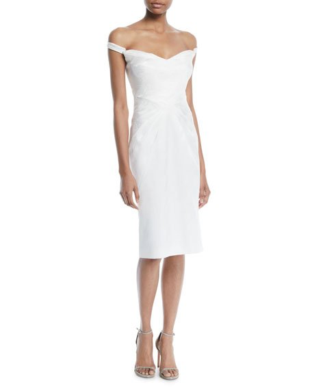Zac Posen Off-the-Shoulder Pleated Sheath Cocktail Dress