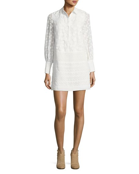 Joie Jamari Embroidered Long-Sleeve Shirtdress