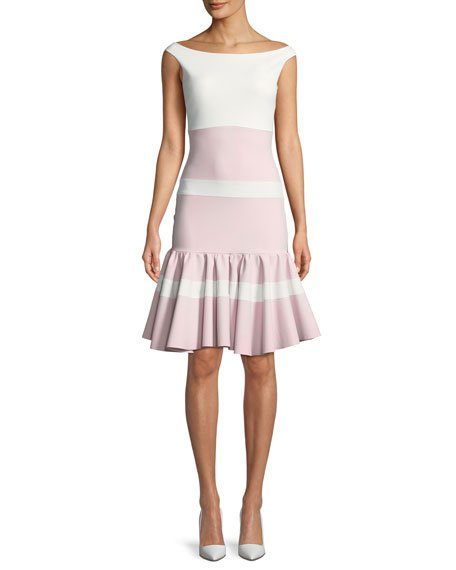 Chiara Boni La Petite Robe Sounia Colorblock Flounce-Hem Dress