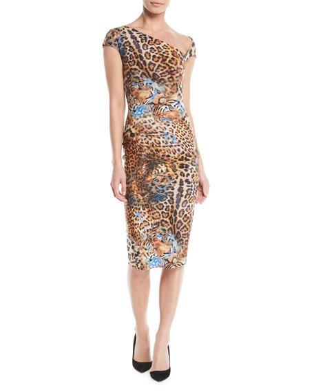 Chiara Boni La Petite Robe Emanuela Asymmetric Leopard-Print Dress