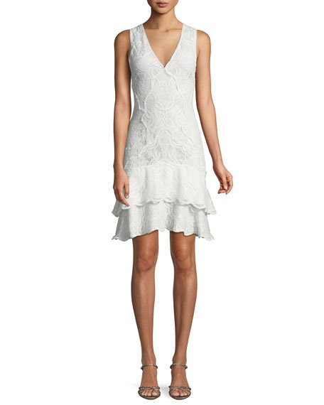 Jonathan Simkhai Delicate Lace Embroidered Cocktail Dress