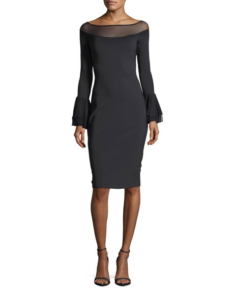 Chiara Boni La Petite Robe Giuly Illusion Long-Sleeve Sheath Cocktail Dress