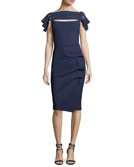 Chiara Boni La Petite Robe Stanica Florian Skirt Tiered Short-Sleeve Cocktail Dress