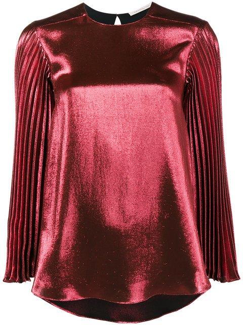 Christopher Kane Pleated Long Sleeve Metallic Top - Farfetch