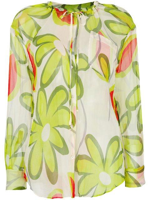 Aspesi Floral-print Sheer Blouse - Farfetch