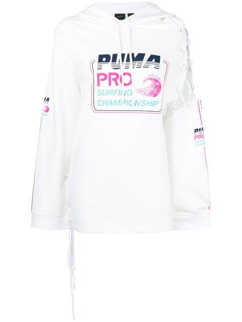 Fenty X Puma Fenty Lace-up Sleeve Hoodie - Farfetch