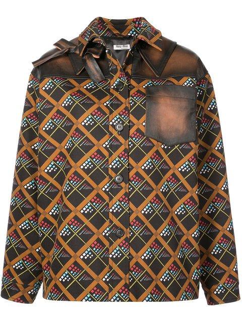 Miu Miu Boxy Printed Longsleeved Shirt - Farfetch