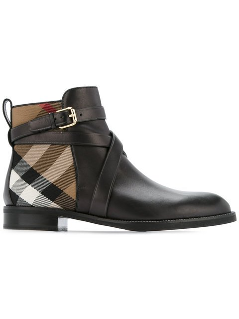 Burberry Strap Detail House Check And Leather Ankle Boots - Farfetch