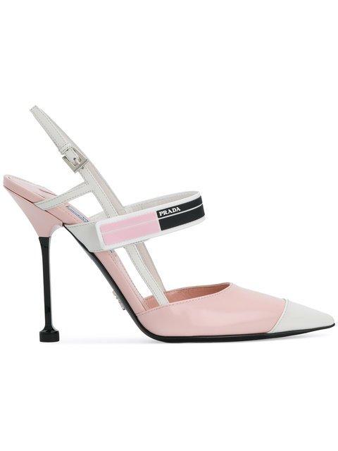 Prada Pink Logo 110 Leather Pumps - Farfetch
