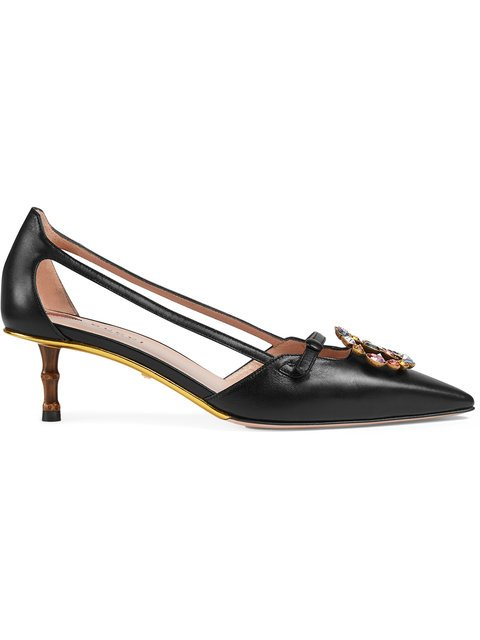 Gucci Leather Pump With Crystal Double G - Farfetch