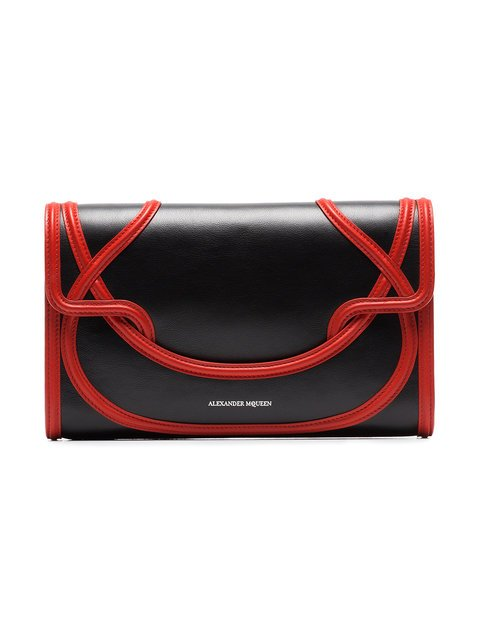 Alexander McQueen Black And Red Wikka Leather Clutch - Farfetch