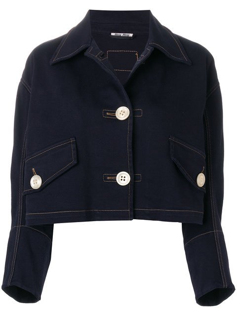 Miu Miu Cropped Denim Jacket  - Farfetch