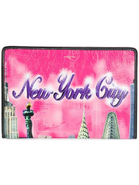 Balenciaga Pink New York Bazar Leather Pouch - Farfetch