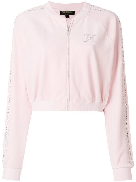 Juicy Couture Swarovski Embellished Velour Crop Jacket - Farfetch
