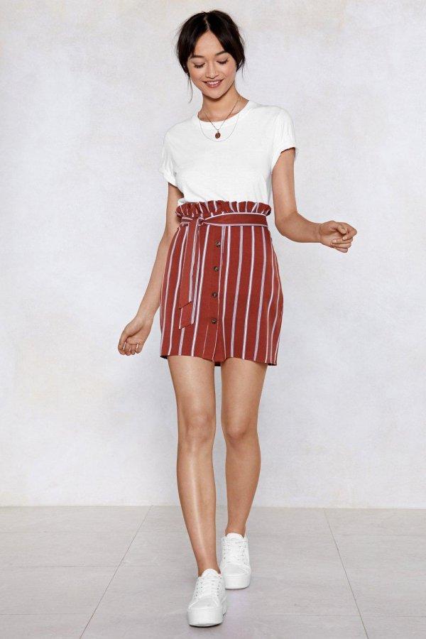Serves \'Em Stripe Paperbag Skirt