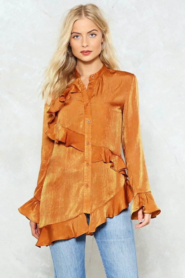 Ruffle on Over Satin Shirt