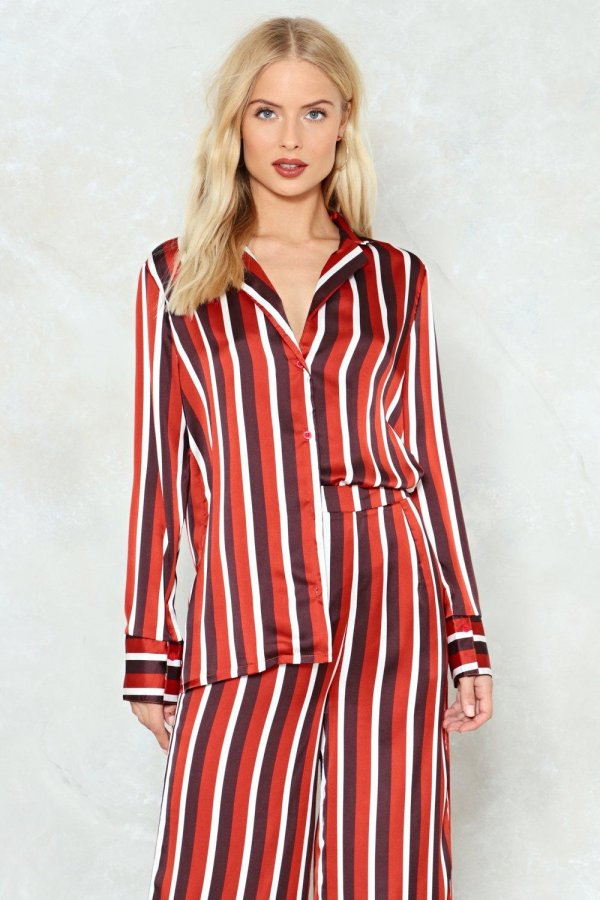 Step Stripe Up Satin Shirt