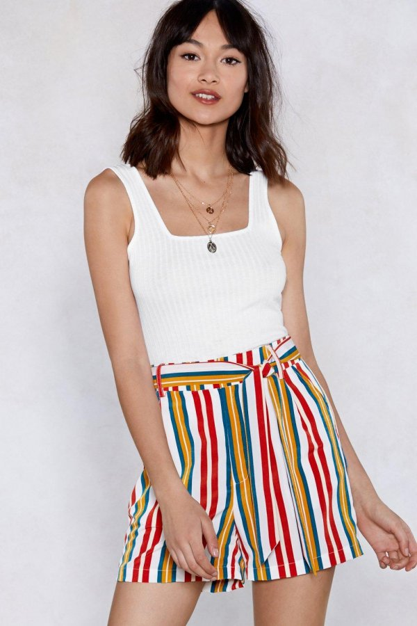 Set It Straight Striped Shorts