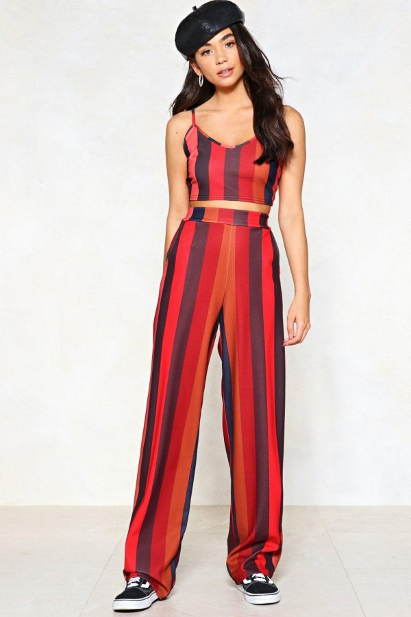 You Stripe Me As That Type Crop Top and Wide-Leg Pants Set