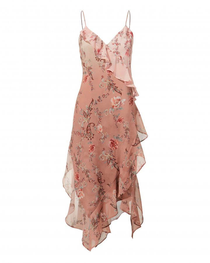 Rose Ruffle Midi Dress