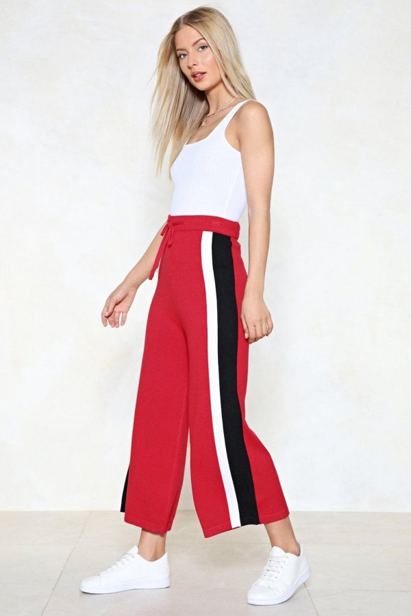 From Side to Side Striped Culottes