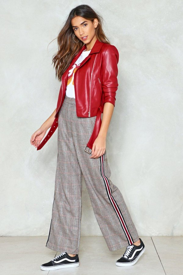Side Stripe Wide Leg Check Pants