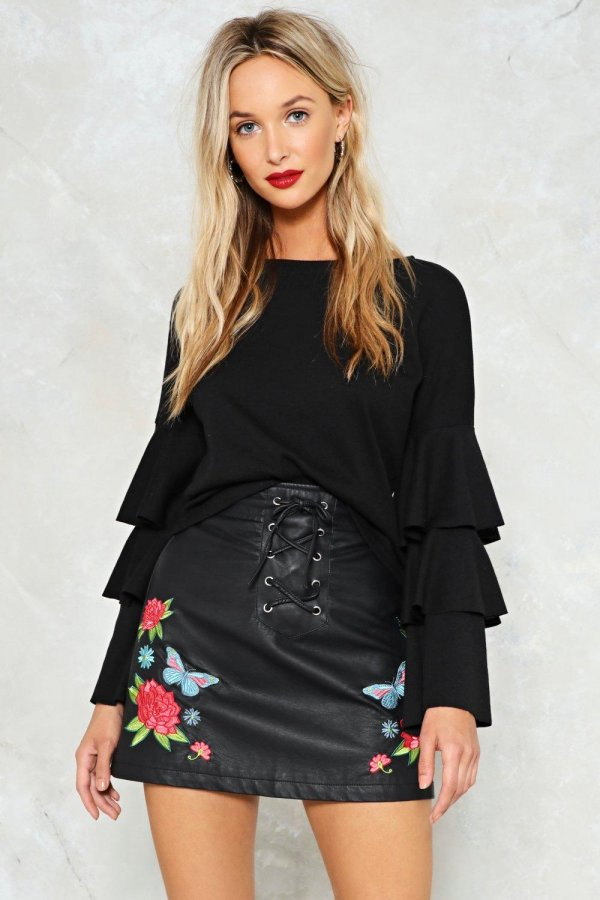 Grow All Out Vegan Leather Skirt