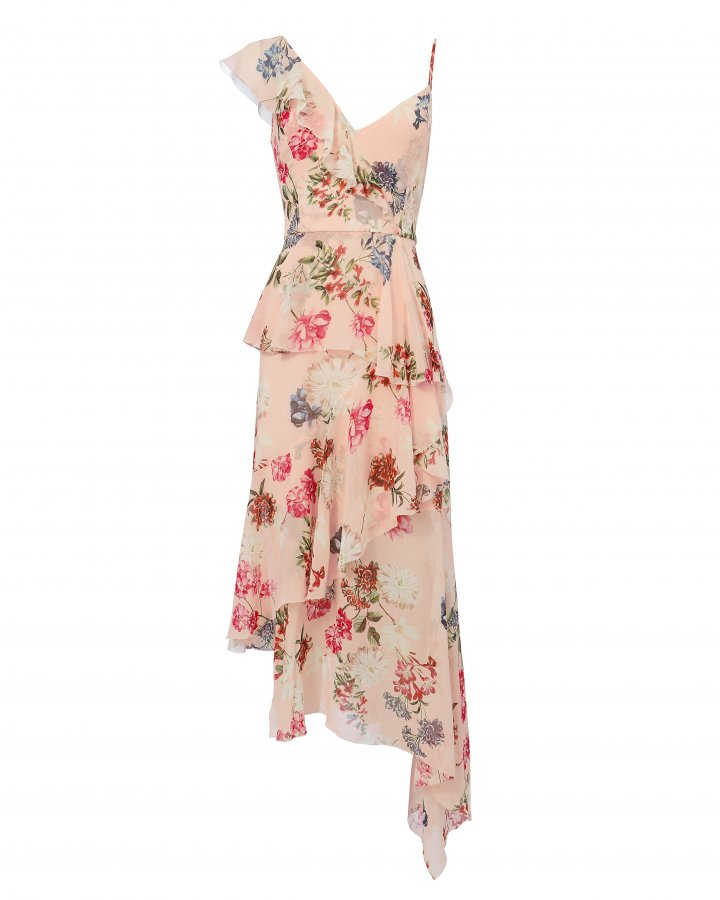 Strappy Ruffle-Trimmed Floral Dress