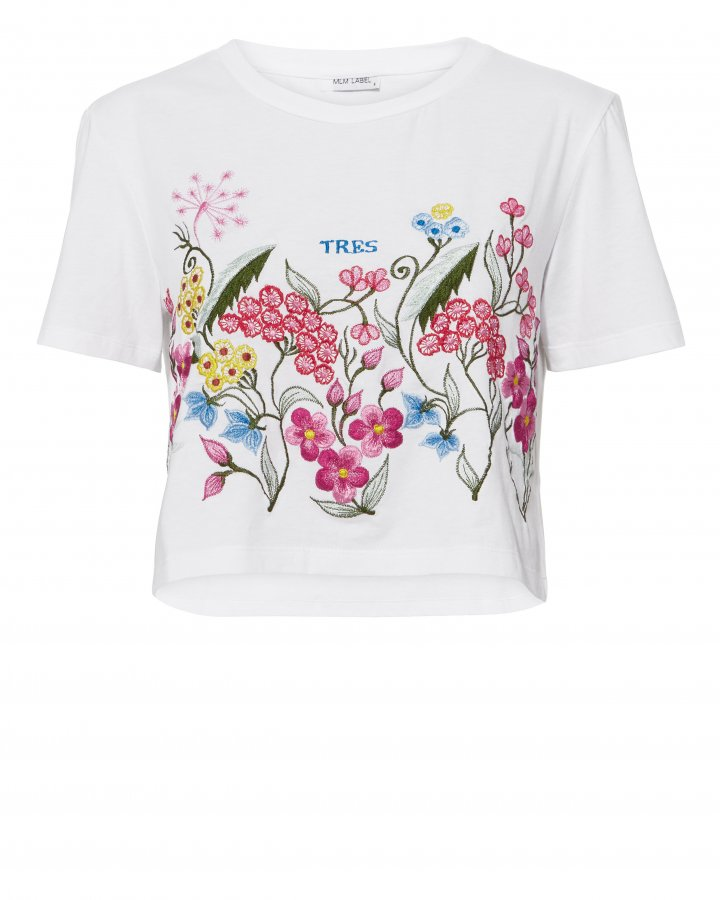 Tres Floral Embroidery Tee
