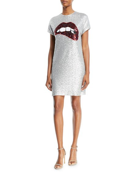 Aidan by Aidan Mattox Sequin Short-Sleeve Biting Lips Cocktail Dress