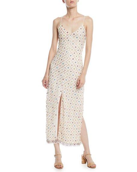 Tularosa Linda Embroidered Sleeveless Slip Midi Dress