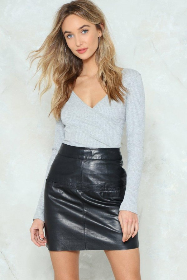 After Party Vintage Drop Us A-Line Leather Skirt