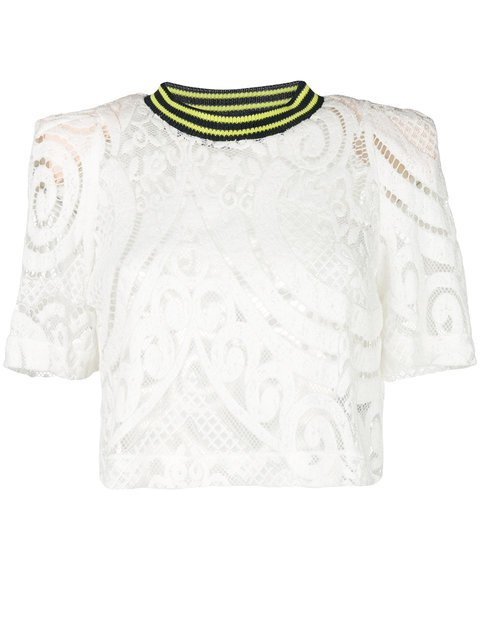 Circus Hotel Track Collar Lace T-shirt - Farfetch