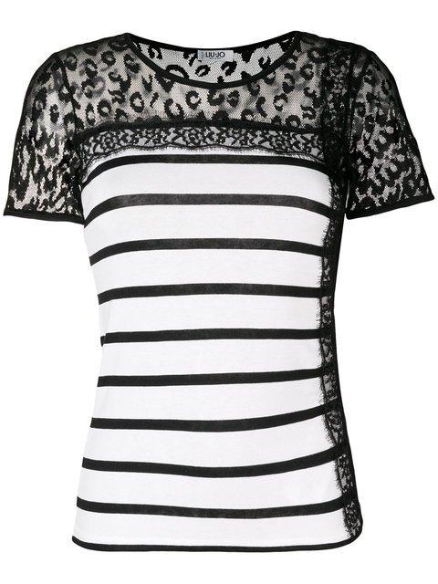 Liu Jo Striped Sheer Panel T-shirt - Farfetch