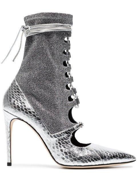 Liudmila Silver Mille Hortense 100 Snakeskin Sock Boots - Farfetch