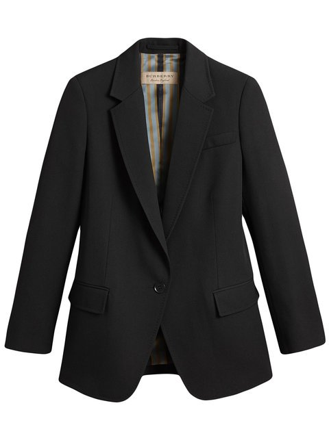 Burberry Topstitch Detail Tailored Wool Jacket - Farfetch